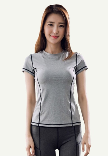 B-Code grey ZYG5100-Lady Quick Drying Running Fitness Yoga Sports Casual Top-Grey C6219AA3685327GS_1