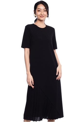 Nichii black Asymmetrical Pleat Shift Dress FD09EAA206C5C5GS_1