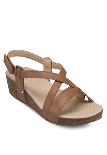 Taesprit outlet 高雄lo 多帶繞後楔型涼鞋, 女鞋, 中跟