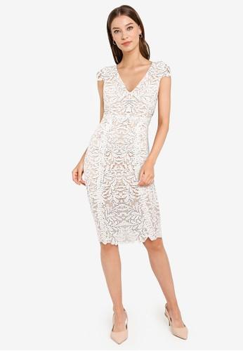 ZALORA OCCASION white Cap Sleeve Lace Midi Sheath Dress 6DEFBAA7C0EAD8GS_1