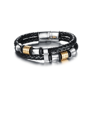 Glamorousky silver Fashion Personalized Silver Gold Two-tone Geometric 316L Stainless Steel Double-layer Leather Short Bracelet 08BAAAC5D06DFAGS_1