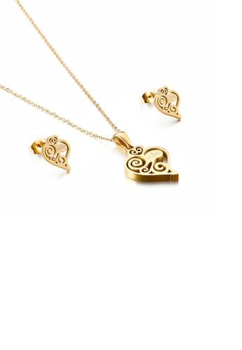 Glamorousky 銀色 時尚簡約鍍金色花紋心形316L鋼項鏈和耳釘套裝 8D09BAC10281B1GS_1