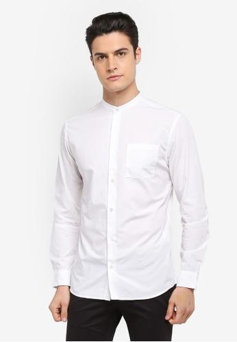 Selected Homme 白色 中山領長袖素色襯衫 761CBAA3F91881GS_1
