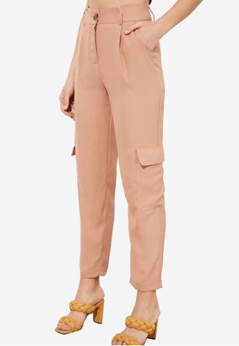 Trendyol 褐色 Pastel Cargo 褲 BC88FAA51930FCGS_1