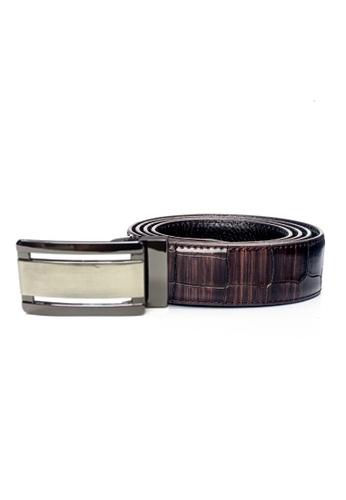 ENZODESIGN brown Two Tone Brown Croco Embossed Leather Belt EN357AC0F593SG_1
