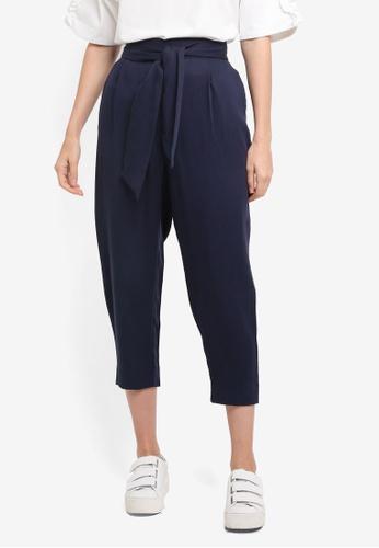 ESPRIT navy Woven Cropped Pants B0148AA805D6CFGS_1
