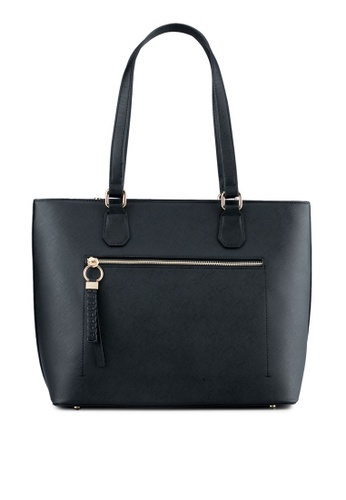 ZALORA black Large Tote With Braided Puller EEA74ZZE6BB2F5GS_1