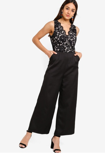 ZALORA black and beige Lace Jumpsuit F7120AAC540610GS_1