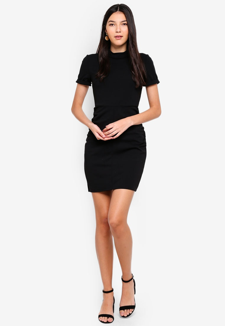 DE JACQUELINE YONG Dress Black Highneck Lauren twEqFBE