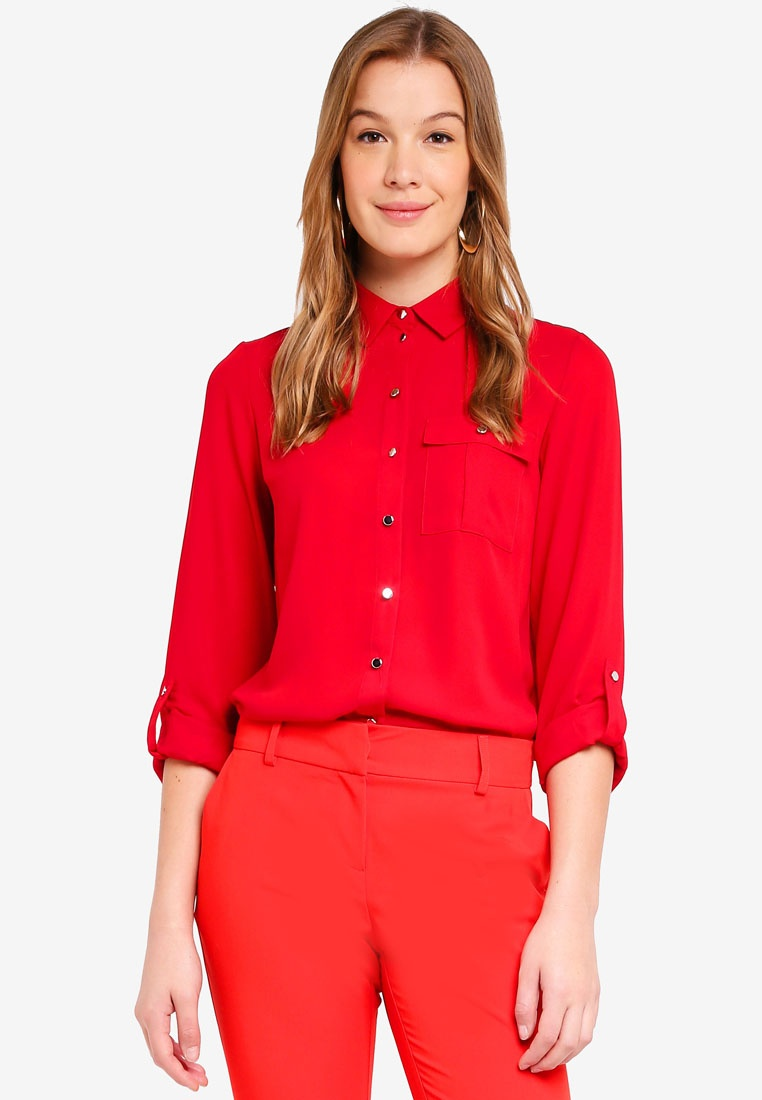 Shirt Red Perkins Roll Sleeve Red Pocket Dorothy qwRBXUfXx