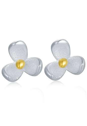 MBLife silver 925 Sterling Silver Plated Yellow Flower Stud Earrings 8901DACFFAA648GS_1