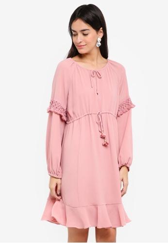 Sisley pink Flowing Midi Dress 8E357AA94D153EGS_1