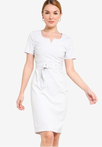 ZALORA WORK white Notch Neck Sheath Dress 71337AAC9BFBF7GS_1