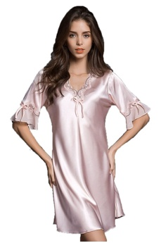 SMROCCO pink Silk Plus Size Nightie Dress L8000-Pink D02A8AA31D0CA6GS 1 5fa89d24b