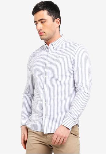 Burton Menswear London white White Long Sleeve Striped Shirt F9D44AA9EF181CGS_1