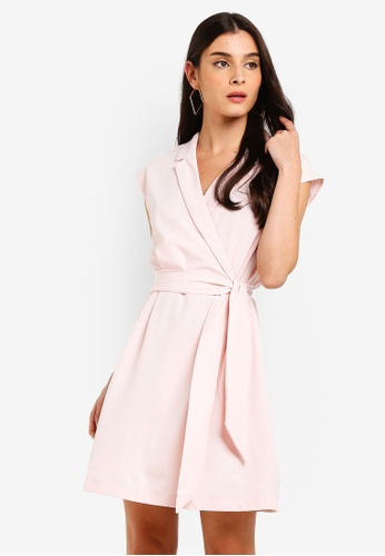 ZALORA pink Blazer Collar Fit And Flare Dress 90C35AA092AB3BGS_1
