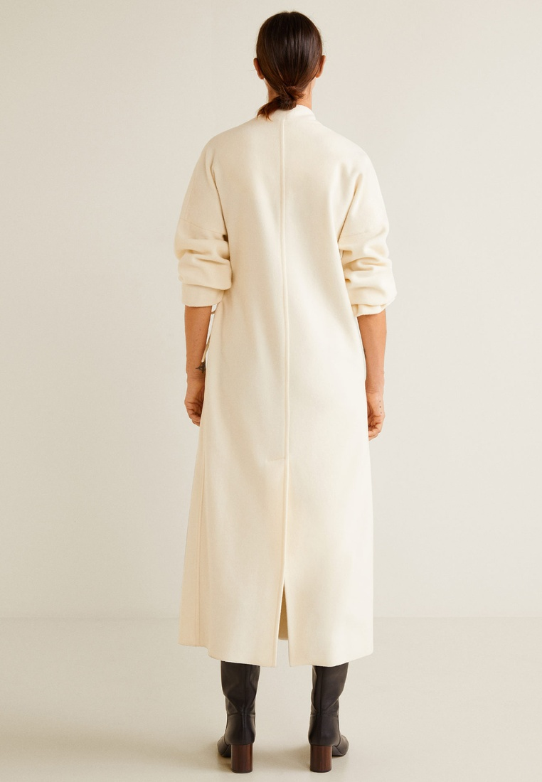 Virgin Collection White Committed Wool Coat Natural Mango PqEH08nw