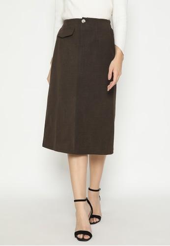 MINEOLA brown MINEOLA Pocket Front Long Skirt DBC73AA68E40E3GS_1