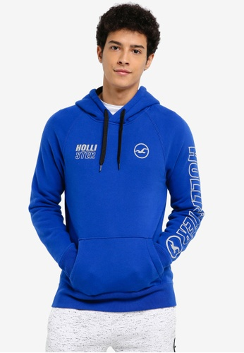 Hollister blue Colour Block Branded Hoody 5247EAA7BDCAF7GS_1