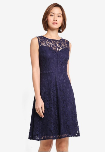 Wallis blue and navy Navy Geometric Lace Fit And Flare Dress CEF5AAA32E32F4GS_1