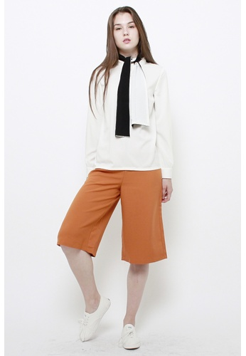 QLOTHE white Claudia Tie-neck Blouse 395A1AA14D1CFCGS_1