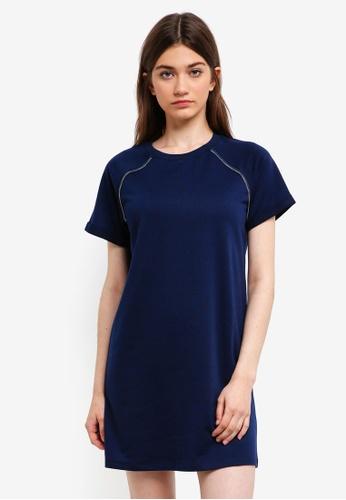 Something Borrowed navy Zip Trim Raglan Tee Dress 7D06DAA31B1496GS_1
