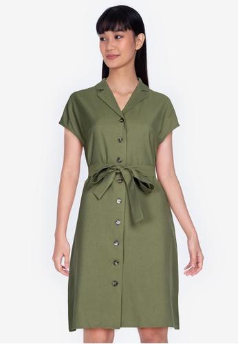ZALORA BASICS 綠色 Belted Linen Dress E4A2BAAD509D38GS_1