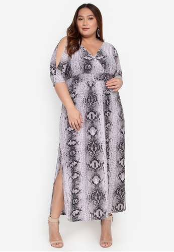 610c1f5d42 Love Curves Clothing By Jgo grey Plus Size Slit Sleeve Maxi Dress  A0E5CAAB457FBEGS_1
