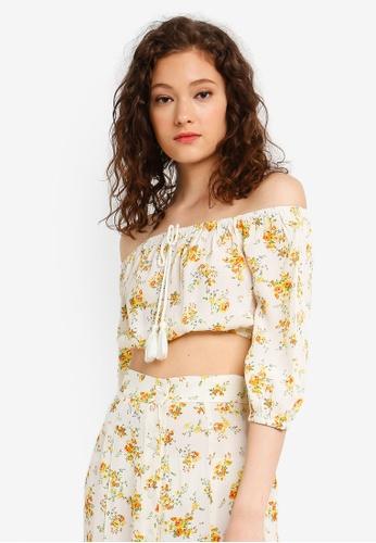 ab373aa4766f15 Buy Miss Selfridge Ivory Floral Print Bardot Top