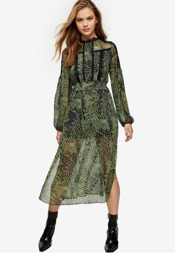 TOPSHOP green Green Animal Print Lace Midi Dress 22BC3AA3C53625GS_1