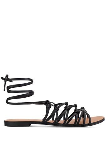 ZALORA black Lace Up Flat Sandals 15552SH685B1D7GS_1