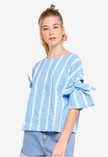 ESPRIT blue Woven Short Sleeve Blouse F4683AA352054FGS_1