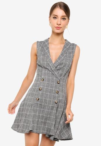 ZALORA WORK grey Peplum Hem Tux Dress A94C2AA6F71CC0GS_1