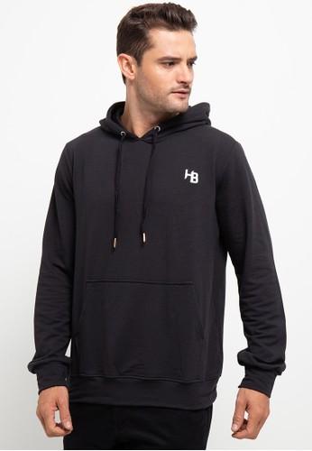 H&R black Herringbone Hoodie Polos Bordir HB A5B40AAE6A2DC7GS_1