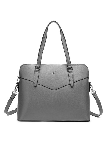 ENZODESIGN grey ENZODESIGN Saffiano Leather Top Zip Business Satchel(B12186GRY) E5D5EACB4462CDGS_1