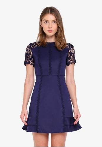 ZALORA navy Mixed Lace Ruffle Dress CFBE5AACCE828BGS_1