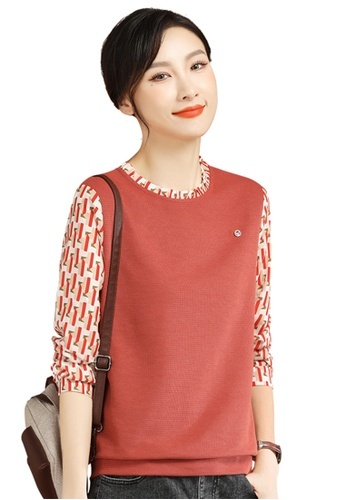 A-IN GIRLS red Fashion Stitching Round Neck T-Shirt 19132AA965555DGS_1