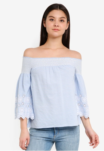 Dorothy Perkins blue Stripe Shirred Broderie Bardot Top 082E1AA8474265GS_1