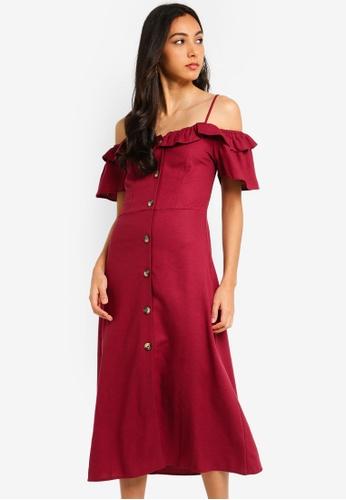 bb2450efc19a Buy Miss Selfridge Burgundy Linen Bardot Midi Dress Online on ZALORA  Singapore