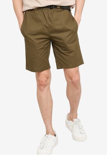 ZALORA BASICS green Waist Buckle Shorts 3D470AACDD8194GS_1