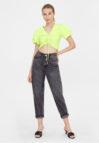 Pomelo yellow Front Ruched Puff Sleeve Crop Top - Yellow 58884AA47B5AA5GS_1
