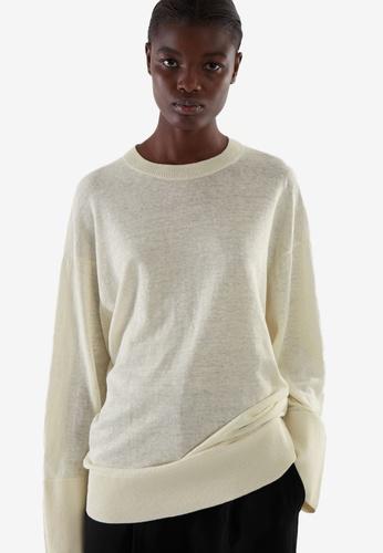 Cos white and beige Lightweight Linen Jumper 205FCAA4520712GS_1