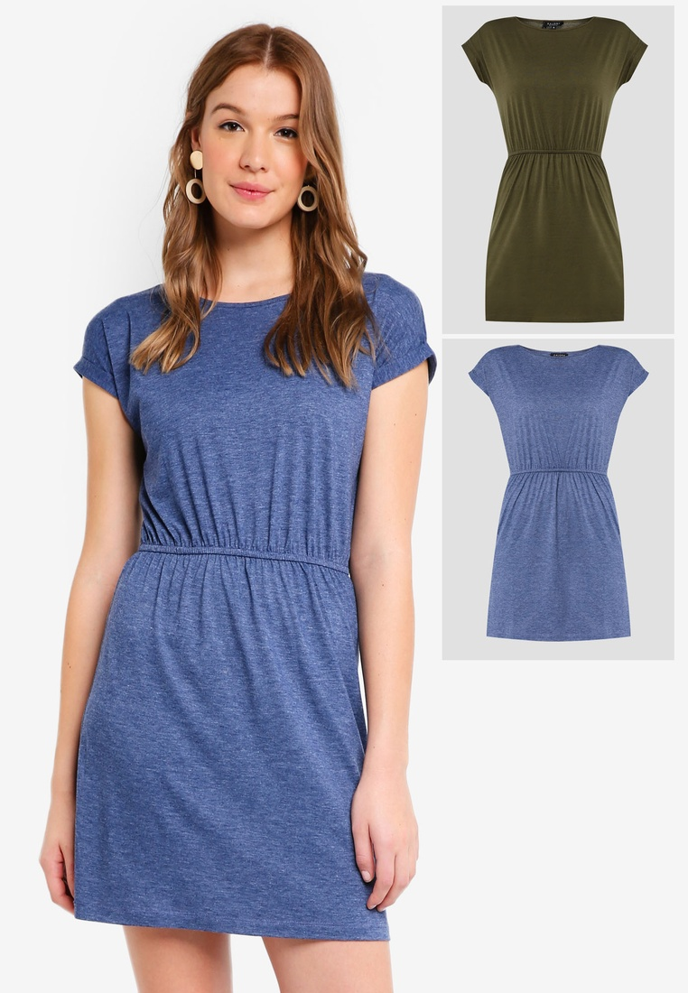 pack Green Basic Shirt BASICS ZALORA Dark Waist Gathered Blue T 2 Dress Marl with adqwHOax