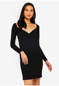 a1cde3a8b63a MISSGUIDED black Off Shoulder Wrap Bodycon Dress AE8FCAACCCEEF3GS_1