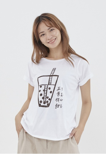 so that's me white Taiwan famous food Bubble tea Normal Sweet Taiwan cotton t-shirt White B6C7AAABDC9B4AGS_1