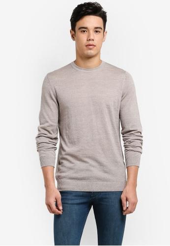 MANGO Man brown Ribbed Wool-Blend Sweater MA449AA85BRYMY_1