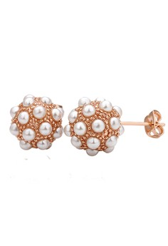 Beverly Pearl Rose Gold Plated Earrings