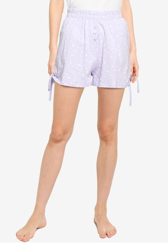 Cotton On Body purple Jersey Placket Bed Shorts 6553EAA7E2AAD9GS_1