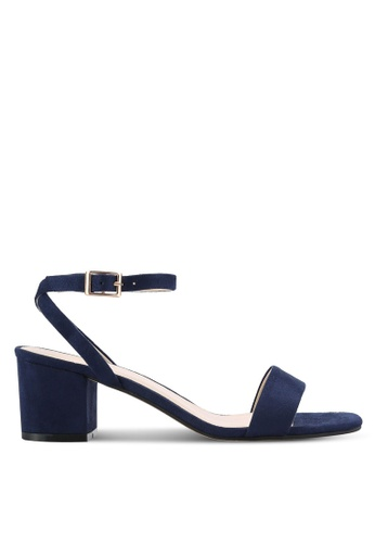 ZALORA 海軍藍色 Faux Suede Ankle Strap Sandals 7F62CSH3A8303BGS_1