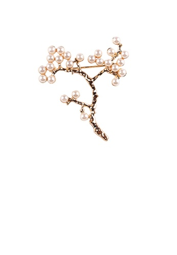 Glamorousky white Elegant and Simple Plated Gold Plum Blossom Imitation Pearl Brooch B955FAC8E9D576GS_1